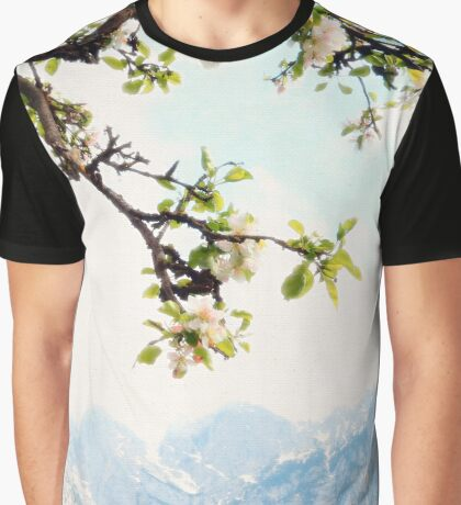 Apple Blossoms and Mountains  Graphic T-Shirt