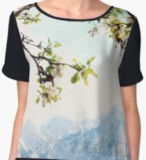 Apple Blossoms and Mountains  Chiffon Top