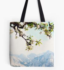 Apple Blossoms and Mountains  Tote Bag