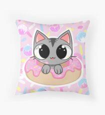 Donut Cat! Throw Pillow