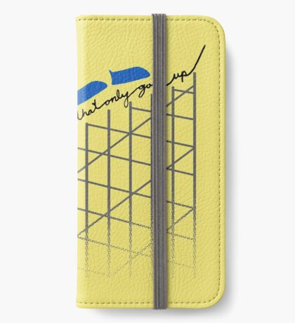 I'm On a Roller Coaster That Only Goes Up (Blue Cars) iPhone Wallet