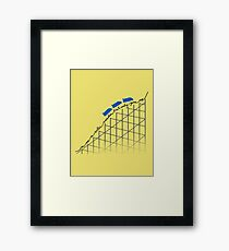 I'm On a Roller Coaster That Only Goes Up (Blue Cars) Framed Print