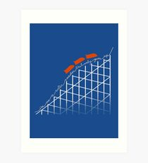 I'm On a Roller Coaster That Only Goes Up (Orange Cars) Art Print