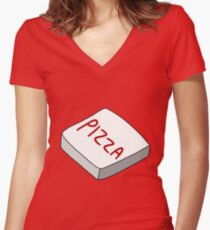 Pizza Box  Fitted V-Neck T-Shirt