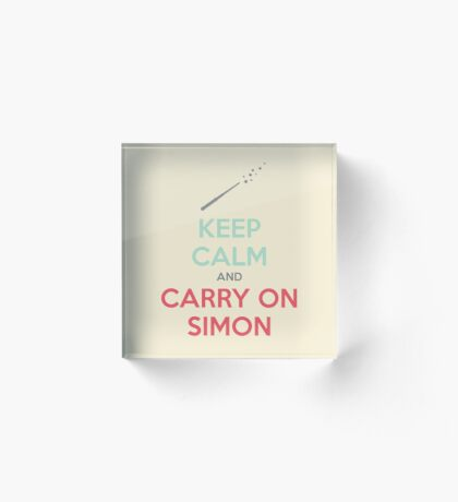 Keep Calm and Carry On Simon (Multi-Color Text) Acrylic Block
