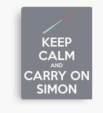 Keep Calm and Carry On Simon (White Text) Canvas Print