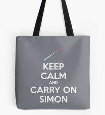 Keep Calm and Carry On Simon (White Text) Tote Bag
