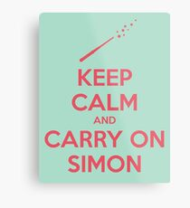 Keep Calm and Carry On Simon (Pink Text) Metal Print