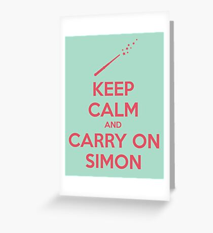 Keep Calm and Carry On Simon (Pink Text) Greeting Card