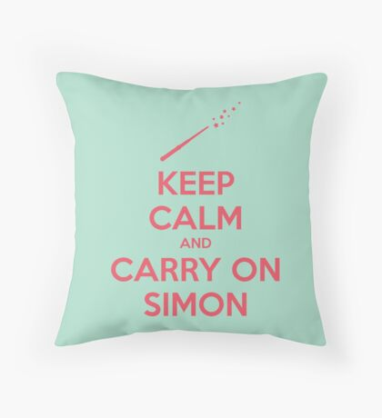 Keep Calm and Carry On Simon (Pink Text) Throw Pillow