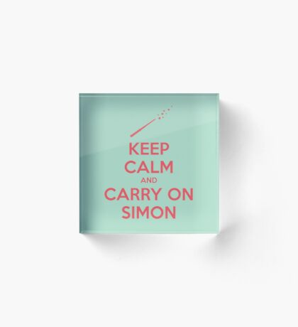 Keep Calm and Carry On Simon (Pink Text) Acrylic Block