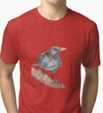 Black Bird Print in winter - Watercolor and sumi ink blackbird Tri-blend T-Shirt
