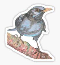 Black Bird Print in winter - Watercolor and sumi ink blackbird Sticker