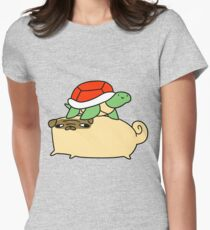 Pug and Little Turtle  Womens Fitted T-Shirt