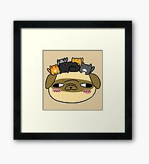 Pug Face with Kittens Framed Print