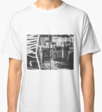 outdoor chairs in the city in black and white Classic T-Shirt