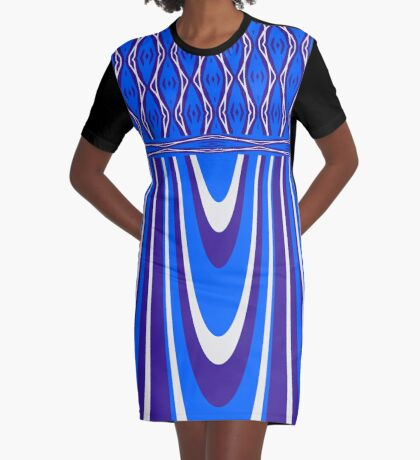 Beautiful Bright Blue Curves Graphic T-Shirt Dress