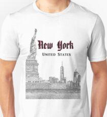New York, USA - NY Skyline - Statue Of Liberty - Manhattan Unisex T-Shirt