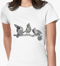 Three Northern Cardinals Birds Print - Bird Drawing Art T-Shirt