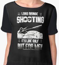 Long range shooting it's like golf but for men Women's Chiffon Top