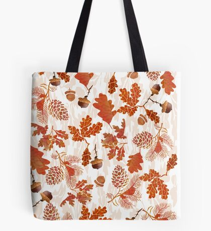 A pattern of acorn,pine cone & Leaves (747  Views) Tote Bag