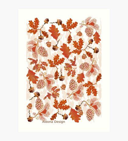 A pattern of acorn,pine cone & Leaves /cornucopia(780  Views) Art Print