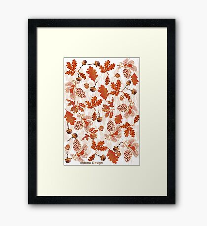 A pattern of acorn,pine cone & Leaves (747  Views) Framed Print