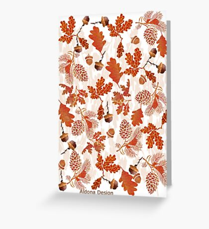 A pattern of acorn,pine cone & Leaves (747  Views) Greeting Card