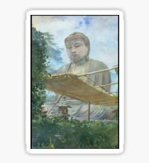 John La Farge - The Great Statue Of Amida Buddha At Kamakura, Known As The Daibutsu, From The Priests Garden Sticker