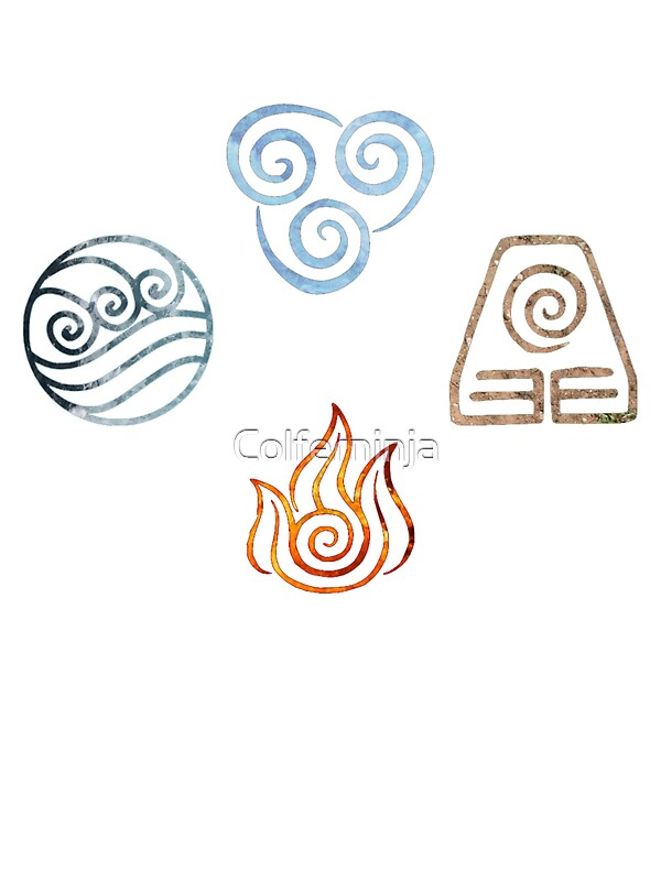 the four elements avatar symbols stickers by ellen kapelle redbubble. Black Bedroom Furniture Sets. Home Design Ideas