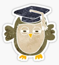 retro cartoon clever owl Sticker