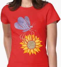 retro cartoon butterfly on flower Womens Fitted T-Shirt