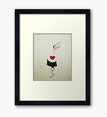 Midnight Leather and Chains Sexy Girl Painting Framed Print