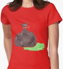 retro cartoon bag of garbage Womens Fitted T-Shirt