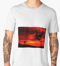 bird attack running away Men's Premium T-Shirt