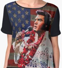 Elvis in Aloha white suit  Chiffon Top