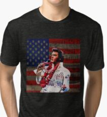 Elvis in Aloha white suit  Tri-blend T-Shirt