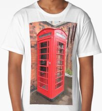 Vintage red phone call box London England British Long T-Shirt