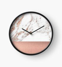 Rose gold marble and foil Clock