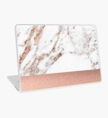 Rose gold marble and foil Laptop Skin