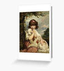 Joshua Reynolds - A Young Girl And Her Dog (C. 1780) Greeting Card