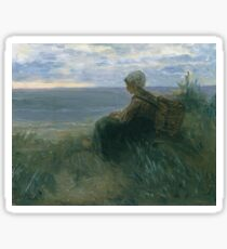 Jozef Israels - A Fishergirl On A Dune Top Overlooking The Sea Sticker