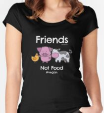 Friends Not Food T-Shirt for Vegans and Vegetarians Women's Fitted Scoop T-Shirt