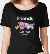 Friends Not Food T-Shirt for Vegans and Vegetarians Women's Relaxed Fit T-Shirt