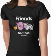 Friends Not Food T-Shirt for Vegans and Vegetarians Womens Fitted T-Shirt