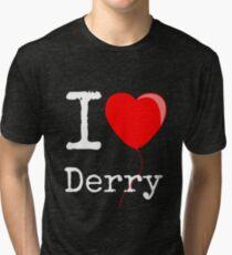 "IT - Balloon heart  - ""I love Derry"" Tri-blend T-Shirt"