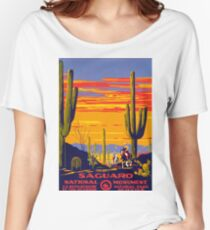 Saguaro National Park Vintage Travel Poster Women's Relaxed Fit T-Shirt