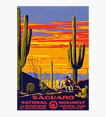Saguaro National Park Vintage Travel Poster Photographic Print