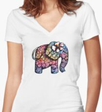 Tattoo Elephant TShirt Women's Fitted V-Neck T-Shirt
