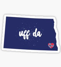 UFF DA North Dakota w/Norwegian Flag Heart (Norway) Sticker